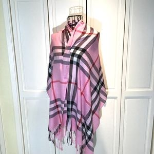 Pink Plaid Scarf Pink Red White Black Large Fringe